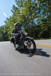 Erik Bahl riding his 1929 BMW R63 during Stage 3 of the Motorcycle Cannonball Cross-Country Endurance Run, which on this day ran from Columbus, GA to Chatanooga, TN., USA. Sunday, September 7, 2014.  Photography ©2014 Michael Lichter.