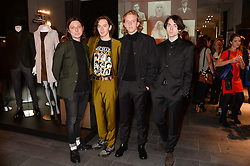 Left to right, Douglas Castle, Harry Koisse, Dominic Boyce and Samuel Koisser of the band Peace at the opening of the Tiger of Sweden Store, 210 Piccadilly, London on 3rd October 2013.