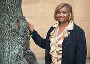 Cynthia Smith poses for a photograph outside the Houston ISD Police Station, October 16, 2013.