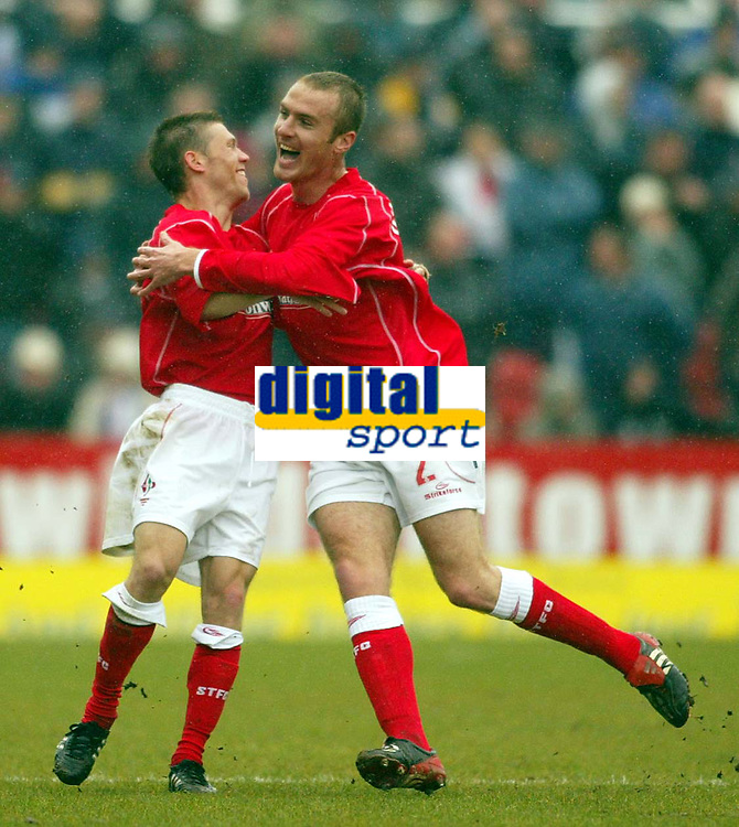 Photo: Scott Heavey.<br /> Digitalsport<br /> NORWAY ONLY<br /> Swindon Town v Hartlepool United. Nationwide Division Two. 08/05/2004.<br /> Goal-scorer, Sammy Igoe (L) celebrates with Sean O'Hanlon