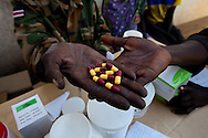 Antibiotics being distrubted at a VCT clinic at Yao barracks.