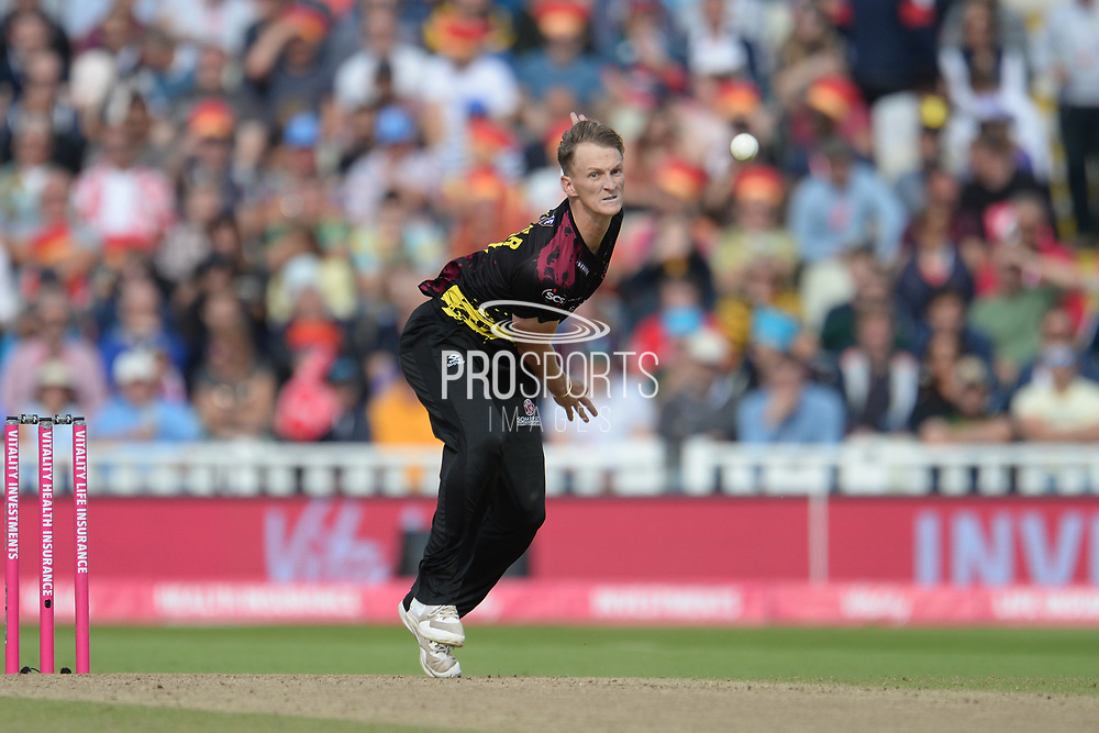 Max Waller of Somerset bowling during the Vitality T20 Finals Day semi final 2018 match between Sussex Sharks and Somerset County Cricket Club at Edgbaston, Birmingham, United Kingdom on 15 September 2018.