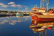 Fishing boats in coastal fishing village off the Atlantic Ocean<br /> La Scie<br /> Newfoundland & Labrador<br /> Canada