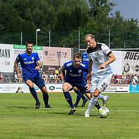 01.08.2020, C-Team Arena, Ravensburg, GER, WFV-Pokal, FV Ravensburg vs SSV Ulm 1846 Fussball, <br /> DFL REGULATIONS PROHIBIT ANY USE OF PHOTOGRAPHS AS IMAGE SEQUENCES AND/OR QUASI-VIDEO, <br /> im Bild Vinko Sapina (Ulm, #22) schirmt den Ball gegen Manuel Geiselhart (Ravensburg, #13) ab<br /> <br /> Foto © nordphoto / Hafner