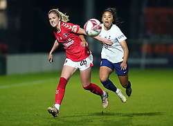 Tottenham Hotspur's Asmita Ale (right) battles with Charlton Athletic's Lois Heuchan (left) during the FA Women's League Cup Group C match at The Hive Stadium, London. Picture date: Wednesday October 13, 2021.