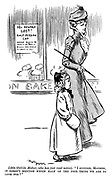"""Little girl (to mother, who has just read notice). """"I suppose, mother it doesn't mention which half of the poor thing we are to look for?"""" (a Victorian cartoon shows a street scene and a sign: 10 Shillings Reward. LOST! Half-Persian CAT)"""