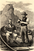 Diver being assisted into a Siebe and Gorman diving suit preparatory to diving down to a sunken wreck to recover treasure.  Illustration published 1870.