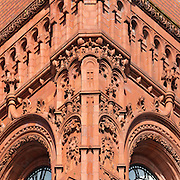Terracotta facade of the Pierhead Building, Cardiff Bay. Architect: William Frame.