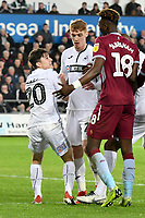 Football - 2018 / 2019 Championship - Swansea City vs Aston Villa<br /> … at the Liberty Stadium.<br /> <br /> Daniel James of Swansea City looks angry after being brought down by Tammy Abraham of Aston Villa<br /> Credit: COLORSPORT/Winston Bynorth