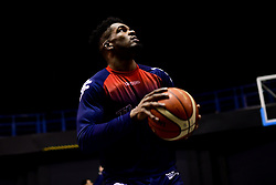 Marcus Delpeche of Bristol Flyers prepares in the warm up area prior to tip off - Photo mandatory by-line: Ryan Hiscott/JMP - 26/01/2020 - BASKETBALL - Arena Birmingham - Birmingham, England - Bristol Flyers v Worcester Wolves - British Basketball League Cup Final