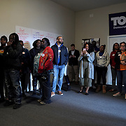 Supporters of Democratic presidential candidate Tom Steyer are seen before a canvass kickoff at a field office on primary day in Columbia, S.C., on Saturday, February 29, 2020.