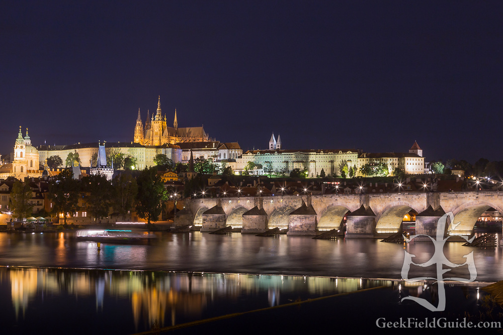 View over the Vltava river in Prague, with the Charles Bridge and Prague Castle in view