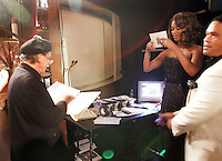 28 April 2006: Tyra Banks calls out her lines outside of the exclusive behind the scenes photos of celebrity television stars in the STAR greenroom at the 33rd Annual Daytime Emmy Awards at the Kodak Theatre at Hollywood and Highland, CA. Contact photographer for usage availability.