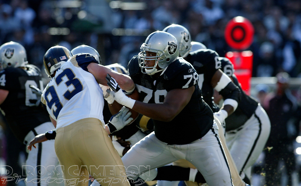 Oakland Raiders offensive guard Chad Slaughter (78) blocks St. Louis Rams' Brandon Green (93) during the first quarter of an NFL football game, Sunday, Dec. 17, 2006 at McAfee Coliseum in Oakland, Calif. The Rams won, 20-0. (D. Ross Cameron/The Oakland Tribune)
