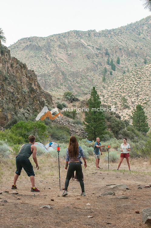 Camp games at Johnny Walker camp on the Middle Fork of the Salmon River, Idaho.