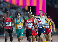 Athletics - 2017 IAAF London World Athletics Championships - Day Eight, Evening Session<br /> <br /> Mens 1500m Semi Final <br /> <br /> Filip Ingebrigsten (Norway) celebrates qualifying with a clinched fist after he crossed the line at the London Stadium<br /> <br /> COLORSPORT/DANIEL BEARHAM