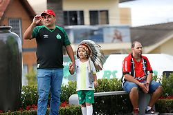 """December 22, 2017 - BRazil - CHAPECO, SC - 22.12.2017: GAME OF THE STARS FRIENDS OF TITE X CARILL - Many tributes this afternoon in ChapecÛ before the departure of Friends of ABRAVIC this Friday night. A wall was inaugurated with the paintings of all the players summoned for that fateful match that ended up not happening against Atletico Nacional of Colombia in 2016. A water source with a mundi map in 3D and with the name of the victims. An atrium to store the time capsule and the famous hashtag """"Pra Semper Chape"""" was inaugurated on another wall of the Cond· Arena. (Credit Image: © Fotoarena via ZUMA Press)"""