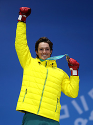 Men's halfpipe bronze medalist ScottyJames, of Australia during the medal ceremony at the Medal Plaza on day five of the PyeongChang 2018 Winter Olympic Games in South Korea. PRESS ASSOCIATION Photo. Picture date: Wednesday February 14, 2018. See PA story OLYMPICS Snowboarding. Photo credit should read: Mike Egerton/PA Wire. RESTRICTIONS: Editorial use only. No commercial use.