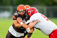 KELOWNA, BC - AUGUST 17:  Jack Proskow #52 of Okanagan Sun blocks Conary Neligan #53 of Westshore Rebels  at the Apple Bowl on August 17, 2019 in Kelowna, Canada. (Photo by Marissa Baecker/Shoot the Breeze)