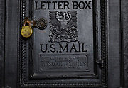 SHOT 10/20/17 12:12:26 PM - An antique U.S. Mail Letter Box at the Ellicott Square Building in Buffalo, N.Y. The Ellicott Square Building is a historic office complex, completed in 1896, located in Buffalo, New York. Buffalo, N.Y. is the second most populous city in the state of New York and is located in Western New York on the eastern shores of Lake Erie and at the head of the Niagara River. By 1900, Buffalo was the 8th largest city in the country, and went on to become a major railroad hub, the largest grain-milling center in the country and the home of the largest steel-making operation in the world. The latter part of the 20th Century saw a reversal of fortunes: by the year 1990 the city had fallen back below its 1900 population levels. (Photo by Marc Piscotty / © 2017)
