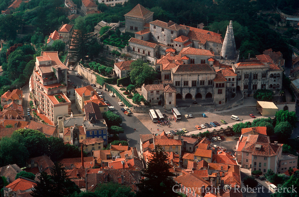 PORTUGAL, CENTRAL REGION Sintra on the slopes of the Serra De Sintra; view from above of the town square and the Royal Palace