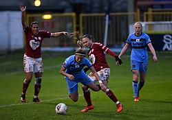 Ebony Salmon of Bristol City Women tackles Cho So-hyun of West Ham United Women - Mandatory by-line: Ryan Hiscott/JMP - 13/12/2020 - FOOTBALL - Twerton Park - Bath, England - Bristol City Women v West Ham United Women - Barclays FA Women's Super League