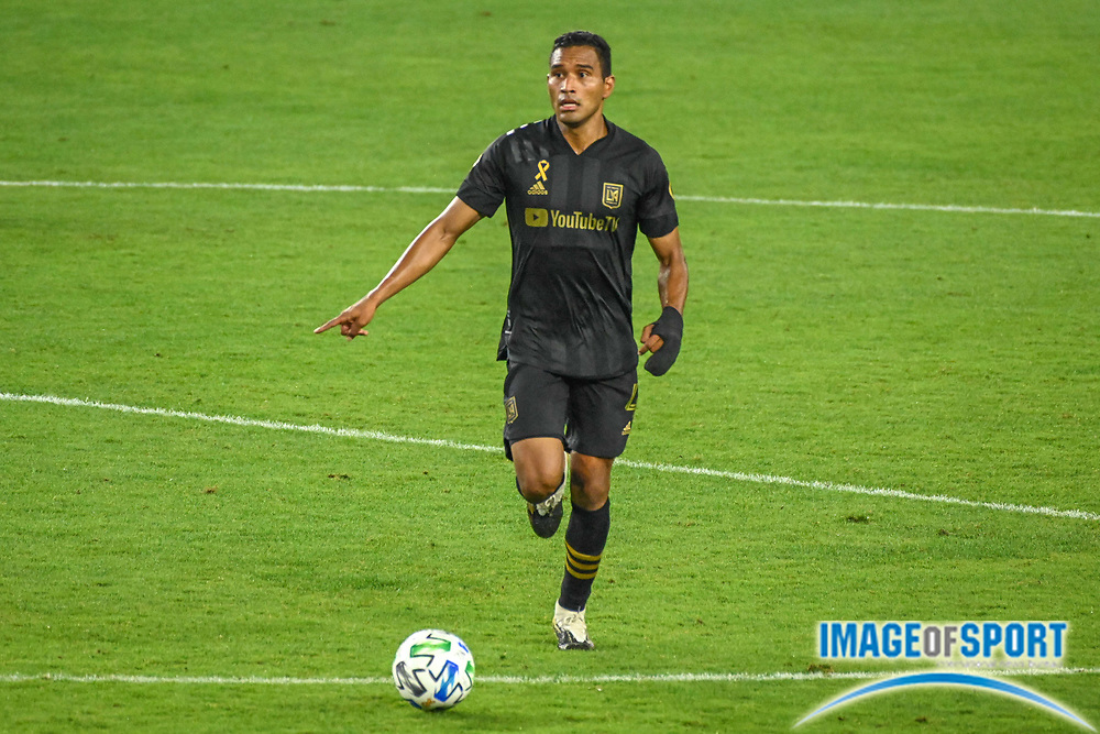 LAFC defender Eddie Segura (4) during a MLS soccer game, Sunday, Sept. 27, 2020, in Los Angeles. The San Jose Earthquakes defeated LAFC 2-1.(Dylan Stewart/Image of Sport)