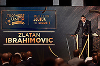 Swedish forward Zlatan Ibrahimovic of Paris Saint Germain receives the 2015/2016 Trophy for Best Player in French Ligue 1 Championship during the 25th UNFP (Union National des Footballeurs Professionnels) Trophies 2016 ceremony, on May 8, 2016, at Pavillon Gabriel in Paris, France - Photo Jean Marie Hervio / Regamedia / DPPI