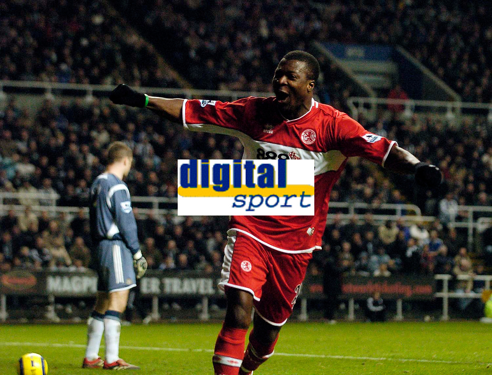 Photo: Jed Wee.<br />Newcastle United v Middlesbrough. The Barclays Premiership. 02/01/2006.<br />Middlesbrough's Yakubu celebrates after scoring their equaliser.
