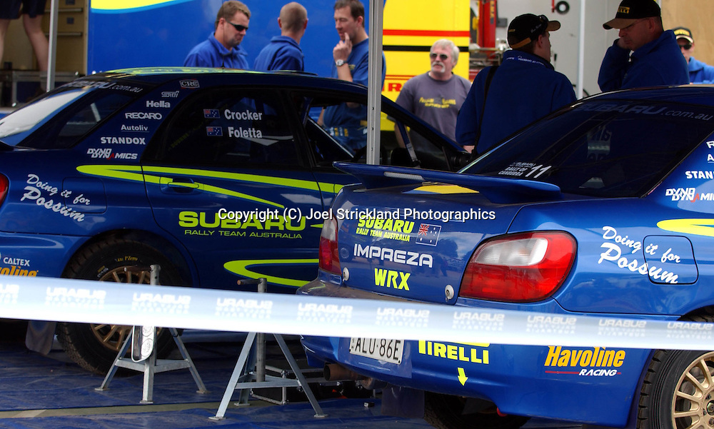 Subaru Australia Rally Team cars carry support messages for Injured team mate Possum Bourne .2003 Rally of Canberra .Canberra, ACT, Australia.25-27th of April 2003.(C) Joel Strickland Photographics