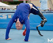 Paralympian Sam Grewe prepares for the high jump event at the 2019 Angel City Games.