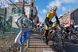 Evy Kuijpers gets squeezed off the road - Le Samyn des Dames 2016, a 113km road race from Quaregnon to Dour, on March 2, 2016 in Hainaut, Belgium.