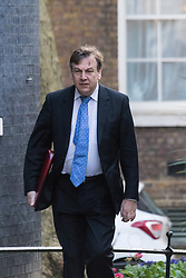 Downing Street, London, February 23rd 2016. Culture Secretary John Whittingdale arrives at the weekly cabinet meeting.  ©Paul Davey<br /> FOR LICENCING CONTACT: Paul Davey +44 (0) 7966 016 296 paul@pauldaveycreative.co.uk