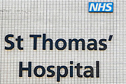 April 7, 2020, England, United Kingdom: NH St Thomas' Hospital is photographed from the oustide where British Prime Minister Boris Johnson was moved to intensive care after his coronavirus symptoms worsened in London, Tuesday, April 7, 2020. Johnson was admitted to St Thomas' hospital in central London on Sunday after his coronavirus symptoms persisted for 10 days. Having been in the hospital for tests and observation, his doctors advised that he be admitted to intensive care on Monday evening. The new coronavirus causes mild or moderate symptoms for most people, but for some, especially older adults and people with existing health problems, it can cause more severe illness or death. (Credit Image: © Vedat Xhymshiti/ZUMA Wire)
