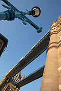 Low angle view of Tower Bridge against clear sky, London, England, UK