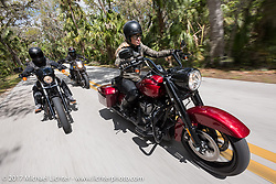 """Iron Lilly Leticia Cline (R) tests the all new 2017 Harley-Davidson Road King Special with its 107"""" Milwaukee-Eight engine north in Tomoka State Park just ahead of Anthony Paggio on another new 2017 Milwaukee-Eight during Daytona Beach Bike Week. FL. USA. Tuesday, March 14, 2017. Photography ©2017 Michael Lichter."""