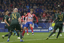 November 28, 2018 - Madrid, Madrid, Spain - Antoine Griezmann kicks the ball to convert the second goal of the Atletico de Madrid during a match between Atletico de Madrid vs Monaco for UEFA Champions League at Wanda Metropolitano Stadium on November 28, 2018 in Madrid, Spain. (Credit Image: © Patricio Realpe/NurPhoto via ZUMA Press)