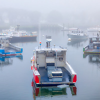 Foggy New England harbor fine art photography of Marshfield Town Pier Landing, Massachusetts. The fog beautifully created a serene harbor scenery.<br />