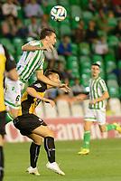 Sevilla, España, 15 de octubre de 2014: Jordi (L) intenta controlar el balon con un salto durante el partido entre Real Betis y Lugo correspondiente a la jornada 5 de la Copa del Rey 2014-2015 celebrado en el estadio Benito Villamarain de Sevilla. (Foto: Carlos Bouza / Alter Photos)