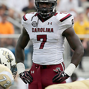 South Carolina Gamecocks defensive end Jadeveon Clowney (7) is seen during an NCAA football game between the South Carolina Gamecocks and the Central Florida Knights at Bright House Networks Stadium on Saturday, September 28, 2013 in Orlando, Florida. (AP Photo/Alex Menendez)