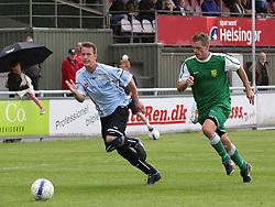 FODBOLD: Kienn Jensen (Helsingør) i angreb under kampen i Danmarksserien, pulje 1, mellem Elite 3000 Helsingør og Frederikssund IK den 19. juni 2010 på Helsingør Stadion. Foto: Claus Birch