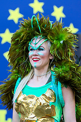 © Licensed to London News Pictures. 30/12/2019. London, UK. A performer from London School of Samba at the preview of the London New Year's Day Parade in Covent Garden Piazza.<br /> The London New Years Day Parade, in its 32nd year will take place on 1 January 2020 and will feature more than 10,000 performers from across the world. Photo credit: Dinendra Haria/LNP