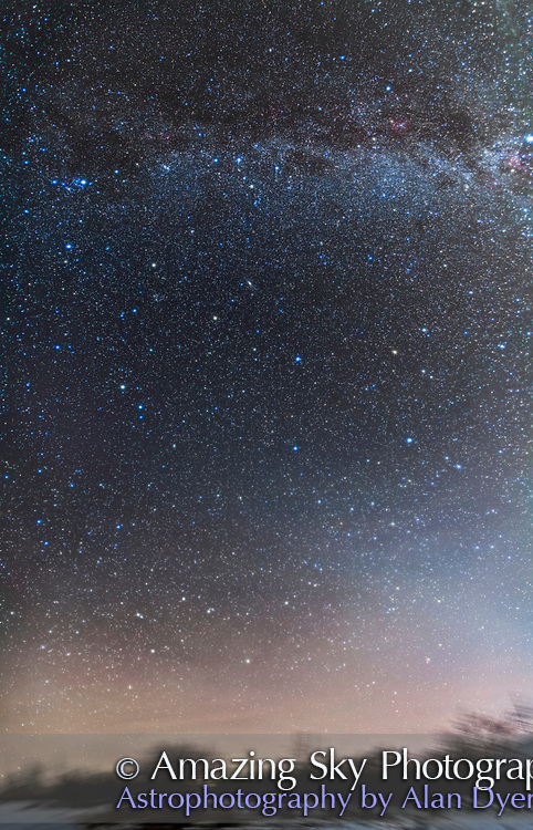 A horizon to past-the-zenith mosaic and panorama of the northern autumn sky and the related Greek mythological constellations: from the watery constellations of Aquarius, Pisces, and Cetus at the bottom near the horizon, up to Pegasus and Aries in mid-frame, on up to Andromeda and Pegasus at upper left, and Cassiopeia and Cepheus at top of frame in the Milky Way overhead. The Andromeda Galaxy is just above centre. <br /> <br /> Most of these constellations are related in Greek mythology, with Andromeda being the daughter of Cassiopeia and Cepheus, who was rescued from the jaws of Cetus the Sea Monster by Perseus, who rode on Pegasus in some accounts. <br /> <br /> Zodiacal Light brightens the sky at bottom right in Aquarius, and angles across the frame to the left. <br /> <br /> I shot this from home on a very clear night January 2, 2016 with the Zodiacal Light plainly visible to the naked eye. This is a mosaic of 5 panels, each a stack of 5 x 2 minute exposures, plus each panel having another stack of 2 x 2 minute exposures blended in, and taken through the Kenko Softon filter to add the fuzzy star glows to make the constellations stand out. All were shot with the 24mm Canon lens at f/2.8 and Canon 5DMkII at ISO 1600. All tracked on the AP Mach One mount. <br /> <br /> All stacking and stitching in Photoshop CC 2015. Final image size is 8500 x 5500 pixels and 3.6 gigabytes for the layered master.