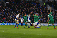 Football - 2018 / 2019 Premier League - Brighton and Hove Albion vs. Watford<br /> <br /> Watford players appeal whilst Lewis Dunk of Brighton lies on the ball during the Premier League match at The Amex Stadium Brighton  <br /> <br /> COLORSPORT/SHAUN BOGGUST