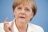21 JUL 2010, BERLIN/GERMANY:<br /> Angela Merkel, CDU, Bundeskanzlerin, Pressekonferenz vor der Sommerpause, Bundespressekonferenz<br /> IMAGE: 20100721-02-043