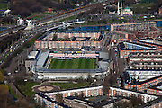 Nederland, Zuid-Holland, Rotterdam, 20-03-2009; Sparta-Stadion 'Het Kasteel', stadion van voetbalclub Sparta aan de gelijknamige straat in Spangen. In de achtergrond rechts de Mevlana moskee. Air view on the football stadium of FC Sparta, The Castle, one of the premier league football clubs of Rotterdam, top right the Mevlana mosque..Swart collectie, luchtfoto (toeslag); Swart Collection, aerial photo (additional fee required).foto Siebe Swart / photo Siebe Swart
