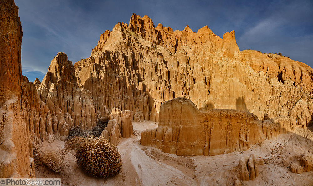 Million-year-old lake sediments have eroded into fantastic mud castles at Cathedral Gorge State Park, Panaca, Nevada, USA. Multiple overlapping photos were stitched to make this panorama.