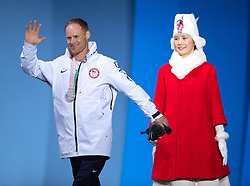 March 17, 2018 - Pyeongchang, South Korea - Dan Cnossen of the US celebrates with his new silver medal for the 7.5km Cross Country event during a Medal Ceremony Saturday, March 17, 2018 at the Pyeongchang Medals Plaza at the Pyeongchang Winter Paralympic Games. Photo by Mark Reis (Credit Image: © Mark Reis via ZUMA Wire)