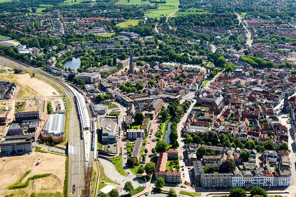 Nederland, Gelderland, Gemeente Zutphen, 17-07-2017; NS station met omgeving. NS trein en trein van Arriva.<br /> Railway station.<br /> luchtfoto (toeslag op standard tarieven);<br /> aerial photo (additional fee required);<br /> copyright foto/photo Siebe Swart