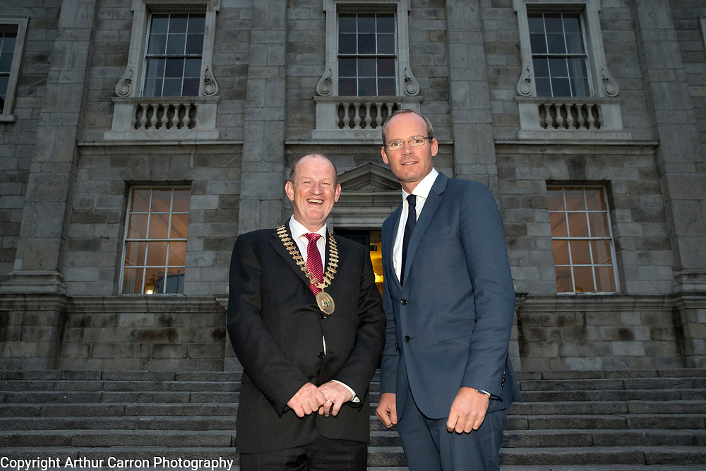 16/9/15 President of the Institute of Certified Public Accountants, Brian Purcell with Minister Simon Coveney at the CPA President's Annual Dinner at Trinity College, Dublin. Picture:Arthur Carron